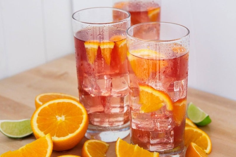Strawberry Watermelon Iced Herbal Tea with Orange & Lime