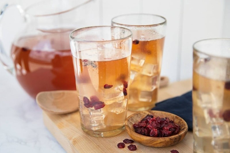 Mango Iced Herbal Tea with Cranberries