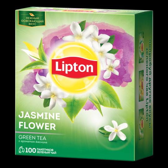 LIPTON зеленый чай в пакетиках jasmine flower team tea 100 шт