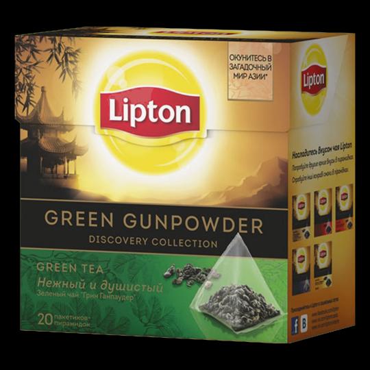 LIPTON зеленый чай в пирамидках green gunpowder tea 20 шт