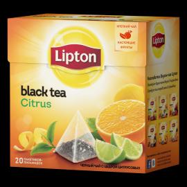 LIPTON черный чай в пирамидках citrus tea tea с цедрой цитрусовых 20 ш