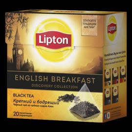 LIPTON черный чай в пирамидках english breakfast 20 шт