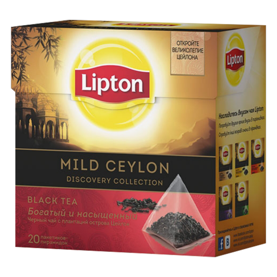 LIPTON черный чай в пирамидках mild ceylon tea 20 шт