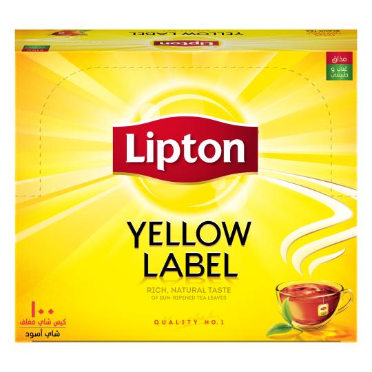 أكياس الشاي الأسود العلامة الصفراء بظروف 100 كيس