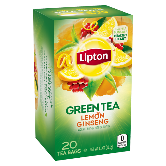 PNG - Lipton Green Tea Bags Lemon Ginseng 20 ct