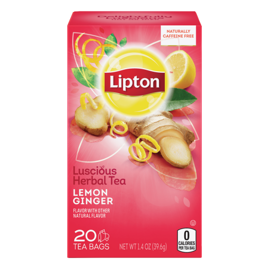 PNG - Lipton US - Lipton Herbal Tea Bags Lemon Ginger